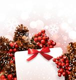 Christmas card on the background of cones and berries. Stock Image