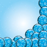 Christmas Card Background. Cyan Background with Christmas Balls Stock Photography