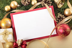 Christmas card background with decorations and copy space Royalty Free Stock Image