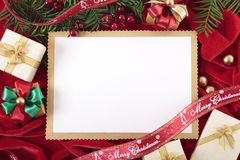 Christmas card background with decorations and copy space Royalty Free Stock Photo