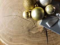 Christmas card background with decorations on wooden table royalty free stock photo