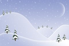 Christmas Card Background Design - 1. Christmas Card background design of snowy hills and trees with crescent moon and falling snow Royalty Free Stock Photo