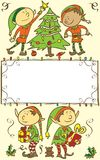 Christmas card background with elves - Illustration Stock Photo