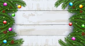 Christmas card background with fir branches and pine cones royalty free illustration