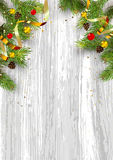 Christmas card background with fir tree and holidays decorations. Vector Illustration Royalty Free Stock Photo