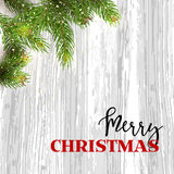 Christmas card background with fir tree and holidays decorations. Vector Illustration Stock Image