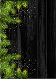 Christmas card background with fir tree and holidays decorations. Vector Illustration Stock Photo