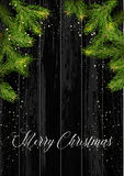 Christmas card background with fir tree and holidays decorations. Vector Illustration Stock Photos