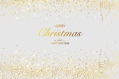 Christmas card. Background with glitter golden frame and space for text stock images