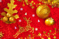 Christmas card background golden and red Stock Photos