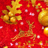 Christmas card background golden and red Royalty Free Stock Image