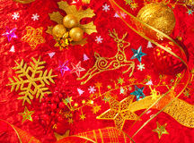 Christmas card background golden and red Royalty Free Stock Photography