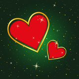 Christmas Card Background. Green Background with Gold and Red Hearts Stock Photos