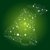 Christmas Card Background. Green Background with Stars for Bell Stock Image