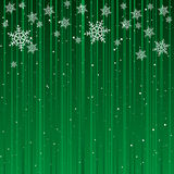 Christmas Card Background. Green Background with White Snowflakes Stock Photography