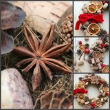 Christmas in a rustic style. Handmade decor. Christmas wreath on the background of old boards. Festive mood. Christmas card. Background Christmas and new year royalty free stock photo