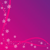 Christmas Card Background. Pink Background with White Snowflakes Stock Photography