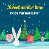 Christmas card background. Rabbit with sweets candy in the christmas tree night forest. Stock Photos