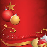 Christmas Card Background. Red Background with Gold Loop and Christmas Balls Royalty Free Stock Photography