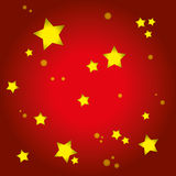Christmas Card Background. Red Background with Gold Stars Royalty Free Stock Image