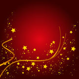 Christmas Card Background. Red Background with Gold Stars Royalty Free Stock Photos