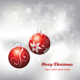 Christmas card background, red and silver Stock Photo