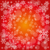 Christmas Card Background. Red Background with white Snowflakes Royalty Free Stock Photo