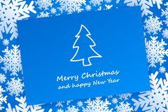Christmas card on background with snowflakes. Christmas card on background with white snowflakes Royalty Free Stock Photo