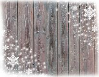 Christmas card background with snowflakes and wooden texture Stock Photography