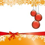 Christmas Card Background. White Background with red Loop and Red Christmas Balls Royalty Free Stock Image