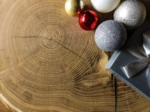 Christmas card background on wooden table royalty free stock photo