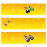 Christmas Card Background. XMAS Background Card with Christmas Balls and Snowflakes Stock Photos