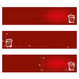 Christmas Card Background. XMAS Background Card with Christmas Gift and Snowflakes Stock Images