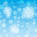 Christmas Card Background. XMAS Background Card with Christmas Gift and Snowflakes Royalty Free Stock Image