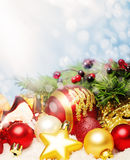 Christmas Card Background with Xmas Red and Golden Decor Royalty Free Stock Photography