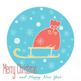 Christmas card with bag with present. Merry Christmas card in blue background with hand drawn Santa's bag with gifts on open sleigh covered snowflakes. Happy New Royalty Free Stock Photography
