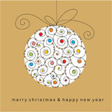 Christmas card with ball Royalty Free Stock Photo