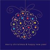 Christmas card with ball Royalty Free Stock Photos