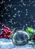 Christmas card with ball fir and decor on glitter background. Christmas ball on glitter background. Xmas Royalty Free Stock Photography
