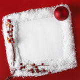 Christmas Card With Ball, Hawthorn And Snow Stock Photography