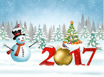 Christmas card with ball. New year and Merry Christmas Winter background with christmas balls and snowman. 2017 with ball on nature background with Christmas stock illustration