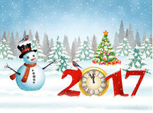 Christmas card with ball. New year and Merry Christmas Winter background with snowman. 2017 with clock on nature background with Christmas tree vector illustration