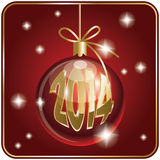 Christmas card with  ball and 2104 Royalty Free Stock Photography