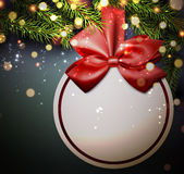 Christmas card with ball. Christmas card with satin bow and fir branches. Vector illustration Royalty Free Stock Photo