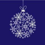 Christmas card with a ball of snowflakes Stock Photography