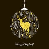 Christmas card with a ball of snowflakes, fir trees and a silhou. Ette of a deer.Vector Stock Photography