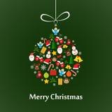 Christmas card with ball template. Christmas card template with christmas ball made of elements Royalty Free Stock Photography