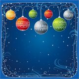 Christmas card with ball, vec. Blue christmas card with christmas ball, vector illustration stock illustration