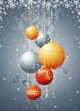 Christmas card with  ball, vec. Silver  card with christmas balls, vector illustration Stock Images