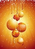 Christmas card with  ball, vec. Golden card with christmas balls, vector illustration Royalty Free Stock Photo